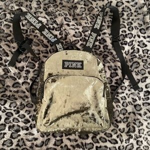 Pink Victoria's Secret Mini Velvet Campus Backpack